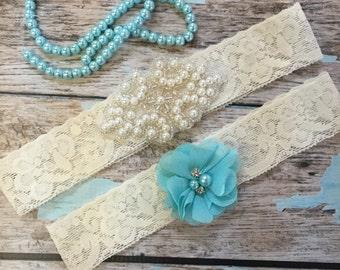 Wedding garter / Lace garter SET / bridal  garter / vintage lace garter / toss garter / wedding garter / pearl garter / aqua garter