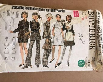Vintage Butterick Pattern 5216 Misses Dress Overblouse Tunic Skirt, Pants, and Shorts Size 12 Bust 34 1960's 1970's