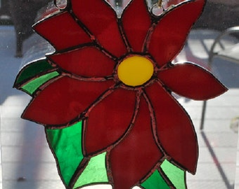 stained glass Christmas poinsettia suncatcher, wall hanging