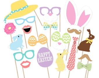 Easter Photo Booth Props - Printable Spring Photo Booth Props - Easter Photobooth - Printable Easter Props