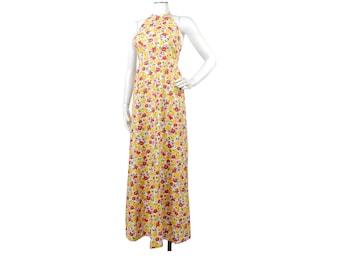 Vintage 70s Maxi Dress - 70s Halter Dress - Floral Maxi Dress - Lanz Dress - Daffodils Peonies - Yellow Maxi Dress - Backless Dress - Ditsy