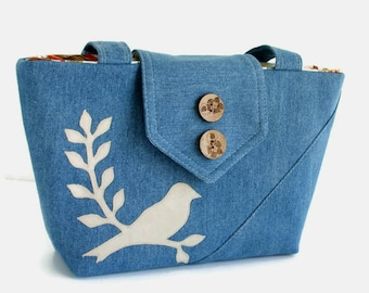 SALE - Bird on Branch Applique - Denim Wayfarer Purse - Handmade Applique - Shoulder Bag - Vegan