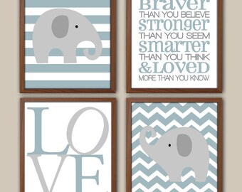 Slate Blue Elephant Art - Chevron Nursery Elephant Decor - Baby Boy Elephant Art - Winnie The Pooh Nursery Wall Art Quote - Set Of 4 Prints
