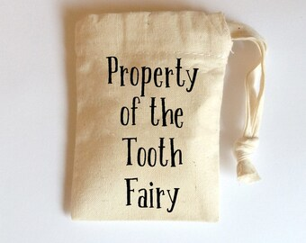 Tooth Fairy Bag, Tooth Fairy Pouch, Small Cotton Drawstring Bag, keepsake bag, memento bag, 1st Tooth Pouch, baby keepsake bag, Fairy Bag