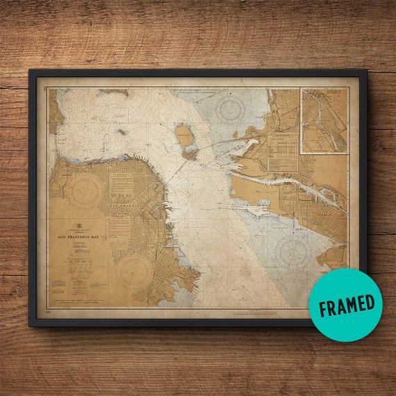 San Francisco Map Framed art Large framed art Vintage map