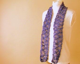 Handknit Purple Scarf, Cotton Lace Scarf, Skinny Scarf, Accent Fashion Scarf