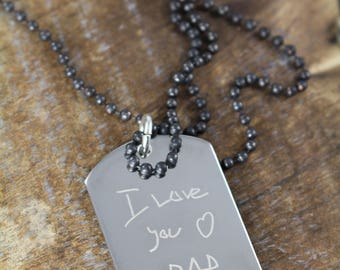 Gifts for Dad , Kids Handwriting Necklace , Engraved Dogtag Necklace