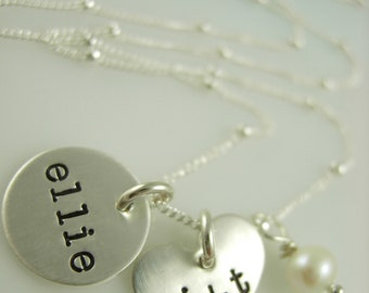 Hand Stamped Necklace - Engraved Necklace - Initial Necklace - Heart Necklace