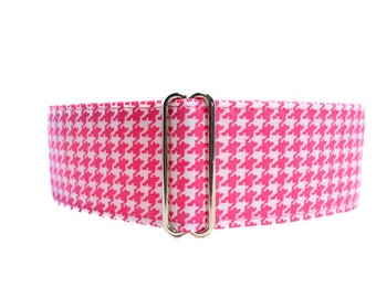Pink Martingale Dog Collar, 2 inch Martingale Collar, Houndstooth Martingale Collar, Houndstooth Dog Collar, Greyhound Martingale Collar