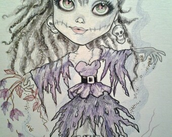 Zombie Prom Queen Fantasy Horror Big Eye Art Print by Leslie Mehl
