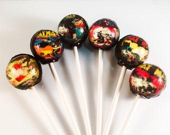 6 Vintage Batman Hard Candy Lollipops 2