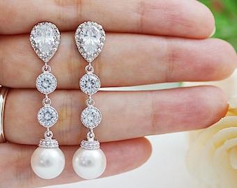 Weddings Bridesmaid Gift Bridal Jewelry Bridal Earrings Bridesmaid Earrings Swarovski Pearls and CZ connectors drop dangle earrings