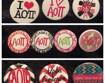 Alpha Omicron Pi Buttons (10 to choose from) more buttons available www.thesororityspot.com
