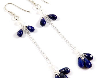 Lapis Lazuli, Rainbow Moonstone Natural Gemstone Handmade Solid 925 Sterling Silver Earring Jewelry, Drop/Dangle Earrning, EI-27