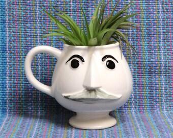 Funny Moustache Face Coffee Cup/ Vintage Ceramic Pedestal Mug for Men/ MIJ
