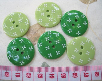10pcs of Pastel Flower  Button Graphic Print -  25mm Green Tone