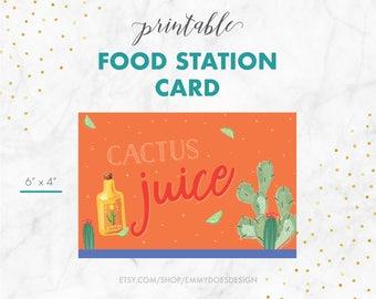 Food Station Card - Cactus Juice - Fiesta Invitation, Cinco de Mayo, Mexican Fiesta, Taco Party, Happy Hour, Cactus, Adult Party Invitation