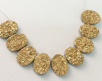 2 Pcs Gold Druzy, Titanium Gold Druzy, 12x16mm Matched Pairs, Oval Druzy, Druzy Jewelry, Gold Druzy Cabochon, Druzy Beads - DZ3181