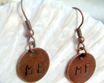Handstamped Copper Earrings With Initials  You Create Them!