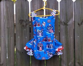 Independence Owl summer ruffle bubble