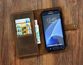 PERSONALIZED retro distressed leather Wristlet GalaxyS7 Edge wallet case mobile wallet / leather Galaxy S6 edge wallet case cover GS005MW-B