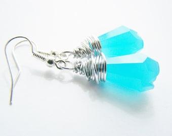 Abaco Blue - Stunning Blue Glass Earrings - FREE shipping WAI - affordable earrings - A beautiful gift - beach - sale - Autumn Fall