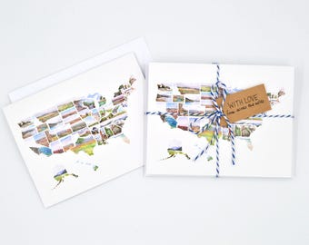 long distance watercolor note card set - miss you card - missing you notecards - thinking of you card - just because gift - map card