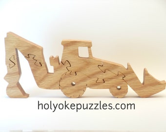 Backhoe Digger Jigsaw Puzzle in Oak