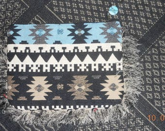"Ethnic clutch with resin designs ""Feather"""