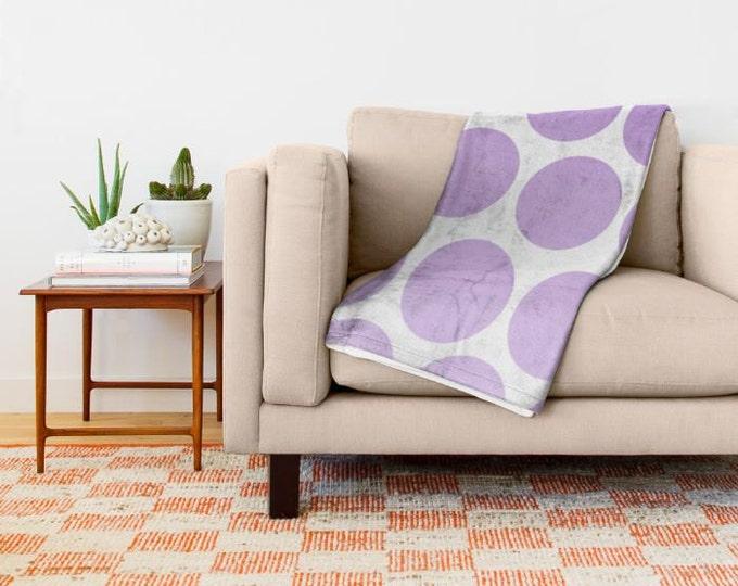 Purple Polka Dot Fleece Throw Blanket - Bedding - Polka Dot Art - Fleece Throw Blanket - Made to Order