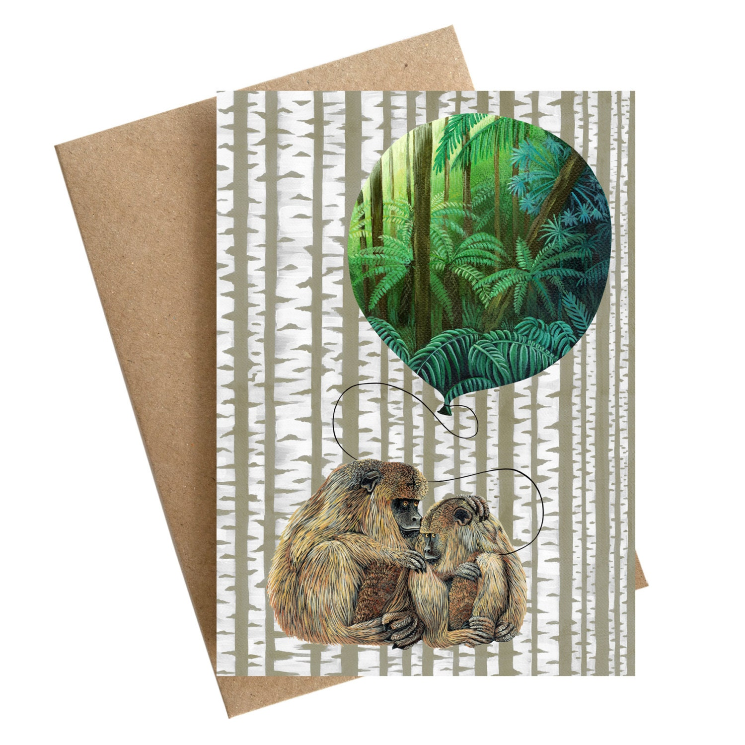 Art Greeting Card Monkey Dreams Green Jungle Balloon Cards For