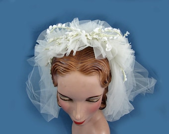 Vintage Wedding Lily of the Valley Headpiece & Veil - 1950s