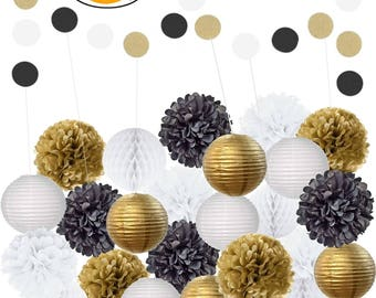 Amazing 22Pcs Mixed Black Gold & White Party Decorations: Set of Hanging Tissue Paper Pom Poms, Lanterns, Balls For Birthday, Wedding Décor
