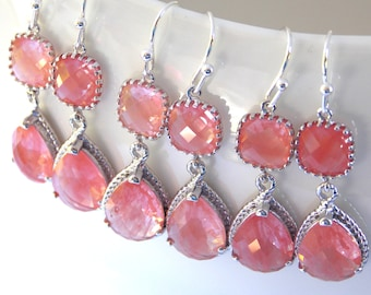 Wedding Jewelry, Coral Earrings, Peach, Grapefruit, Silver, Bridesmaid Jewelry, Bridesmaids Earrings, Bridesmaid Gift, Dangle,Wedding Gifts