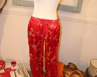 Vintage, 80s does 30s, red, asian, pajama pants