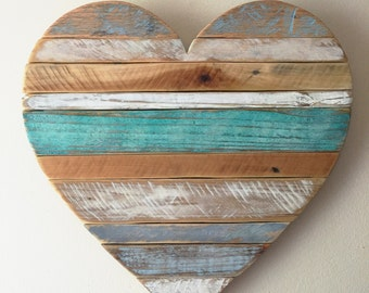 "2-3  WEEK WAIT // Medium 18"" rustic striped turquoise heart, beach , wall decor, cottage"