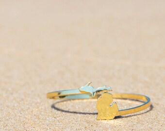 Michigan bracelet | Michigan gifts | Gold Plated Brass Michigan bracelet | State of Michigan jewelry