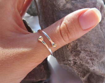 Sterling Silver and 9ct Gold Thumb Ring - HAND MADE