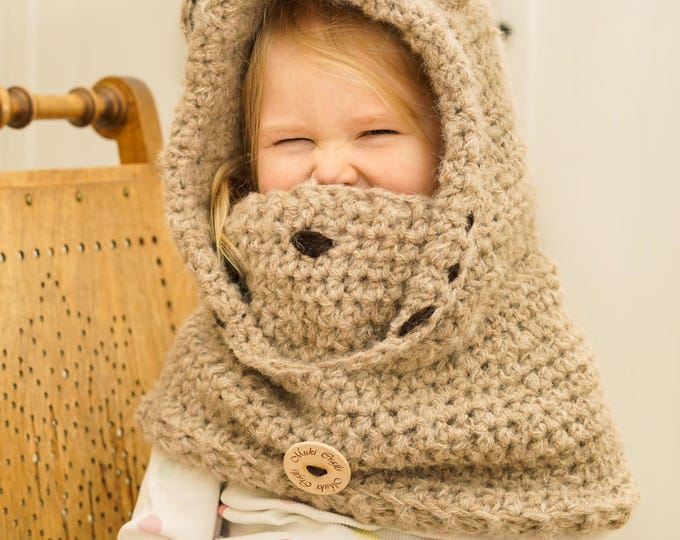 CROCHET PATTERN bear hooded cowl Jacob with inner cowl (baby/toddler/child/adult sizes)