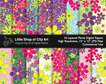 Floral Layered Digital Paper, scrapbook, vibrant colors, digital art, scrapbooking, background paper, backgrounds, printable, commercial use