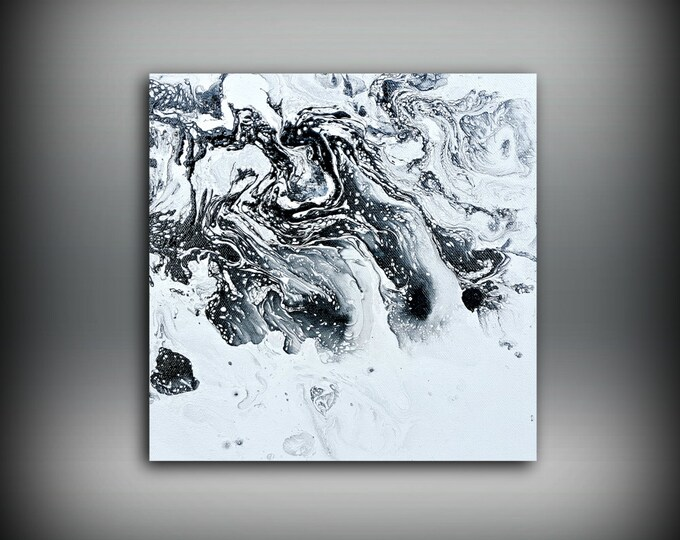 Art Painting Acrylic Painting Abstract Art Small Wall Art Canvas Black and White Home Decor Small Canvas Art, Small Wall Hanging Art 10 x 10
