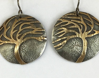 Silver Brass Round Disc Wind Blown Tree Earrings