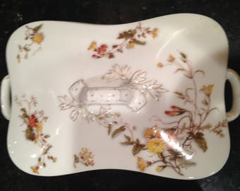 Haviland 6383 Two (2) Rectangular Covered Casserole Set with Different Designs, Autumn Colored Flowers coordinates with Autumn Leaves