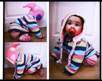 3 to 6m Pixie Hat Pink Baby Pixie Elf Hat Pixie Bonnet Earflap Hat Crochet Baby Hat Pink Purple Blue Lime Yellow Photo Prop