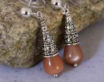 Antiqued Silver and Peach Sunstone Dangling Post Earrings, Peach Earrings, Sporty Earrings, Summer Jewelry, Pastel Peach Earrings