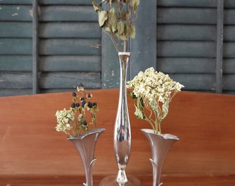 3 Silverplate Bud Vases, Beautiful Vintage Silverplate Great Gift for Valentines Day, Birthday, Goes Well With That Fresh Bouquet of Flowers