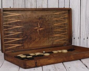 Backgammon, Vintage backgammon, Big size backgammon game, Antique backgammon, Wood walnut backgammon, Family game handmade circa 1940-50's