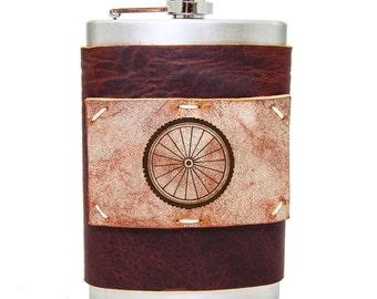 Bicycle Wheel 8oz Flask in Merlot Saddle