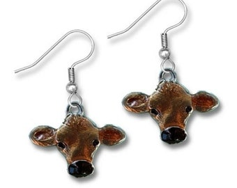 Hand Painted Jersey Cow Earrings
