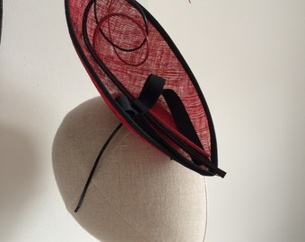 Red and Black Sinamay Boat Straw Percher Cocktail Hat